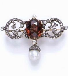 AN ANTIQUE BROWN ZIRCON, PEARL AND DIAMOND BROOCH, Designed as an old European and rose-cut diamond scrolled bar, centering upon a cushion-cut brownish orange zircon, accented by old mine-cut diamonds, suspending a pearl drop, measuring approximately 8.00 mm, with a rose-cut diamond cap, mounted in silver-topped gold, circa 1870