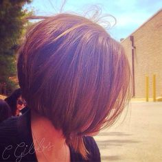 Women's short stacked bob haircut