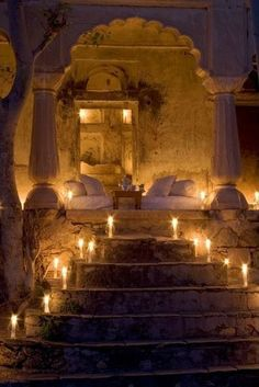Lady of Faith: Photo Wonderfully Romantic Bedroom with candles lighting the path! That deco scares me a little Outdoor Rooms, Outdoor Living, Outdoor Bedroom, Luxor, My New Room, Stairways, My Dream Home, Interior And Exterior, Interior Design