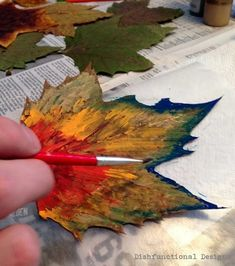 Dishfunctional Designs: The Perfect Autumn Craft: Painting Leaves Creative ideas in crafts and upcycled, innovative, repurposed art and home decor. Autumn Crafts, Fall Crafts For Kids, Autumn Art, Nature Crafts, Art For Kids, Autumn Leaves, Leaf Crafts, Tree Crafts, Dry Leaf Art