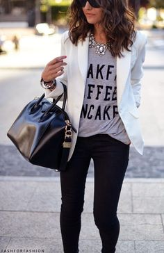 Statement Necklace and White Tee