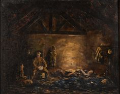 Front art painting 'Confinement in a barn at Ramscapelle' by Joseph De Necker. Europeana 1914-1918, CC BY-SA