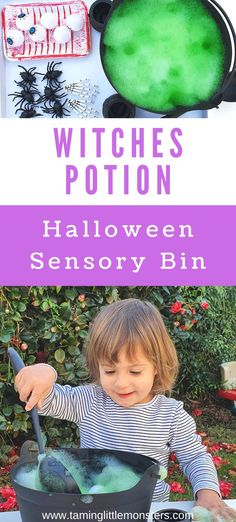Have fun with this witches potion sensory bin for toddlers and preschoolers. Your kids will love brewing up some magic with this Halloween play idea. Green soap foam and Halloween toys create a fun and easy sensory bin.  #Halloween #sensory #toddler #preschool #witch