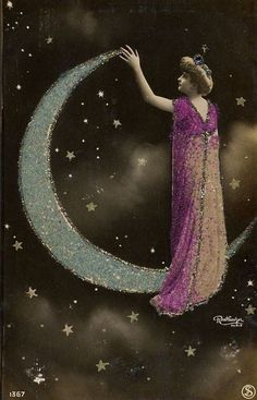 Vintage woman and silver sparkle crescent moon and stars photo Sun Moon Stars, Sun And Stars, Luna Lovegood, Moon Photos, Paper Moon, Good Night Moon, Moon Magic, Beautiful Moon, Moon Goddess