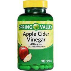 Apple Cider Vinegar Remedies Spring Valley Apple Cider Vinegar Capsules, 450 Mg, 100 Ct - Apple Coder Vinegar, Apple Cider Vinegar Cleanse, Apple Cider Vinegar Supplements, Apple Cider Vinegar Capsules, Apple Cider Vinegar Remedies, Apple Cider Vinegar Benefits, Water Retention Remedies, Most Effective Diet, Fat Burning Drinks