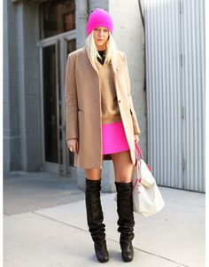 I like this but think i would love it without the coat & sweater. hat is cute but could probably do without it also. love the boots!