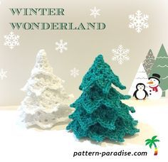 Winter Wonderland Tabletop Trees/ FREE CROCHET pattern / place a star on top & some bells or other decos on tree & you have a pretty tree.