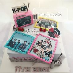 K-pop cake, kpop cake, k-wave, EXO, BTS ... Twice Birthdays, Bts Birthdays, Army's Birthday, Happy Birthday Cakes, Birthday Ideas, Bts Cake, Summer Cakes, Cake Decorating Techniques, Pretty Cakes