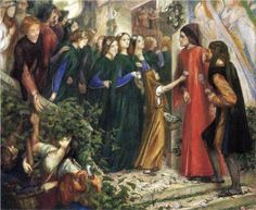 Beatrice, Meeting Dante at a Wedding Feast, Denies him her Salutation - Dante Gabriel Rossetti\1855