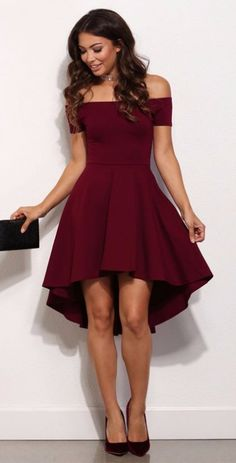 High Low Simple Style Cheap Burgundy Party Dress