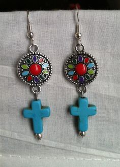 Colorful Southwestern Cross Earrings by AllMyAdornments on Etsy, $6.00