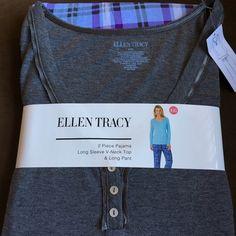 Ellen Tracy pajama set 2 piece Brand new pair of pajama set . Pants have plaid print . Top is plain . Pants have functional drawstring. Top is 65% polyester, 35% rayon . Pant is 95% rayon, 5% spandex. Ellen Tracy Intimates & Sleepwear Pajamas