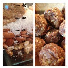 Paleo Snack Balls -- almonds, walnuts, unsw shr coconut, dates, vanilla, cinnamon, salt, almond butter, coconut oil