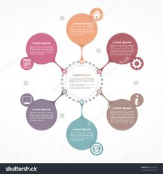 Circle Flow Diagram Template With Six Elements, Vector Illustration… Circle Infographic, Chart Infographic, Infographic Powerpoint, Infographic Templates, Create Infographics, Bubble Diagram, Circle Diagram, Circle Circle, Flow Chart Design