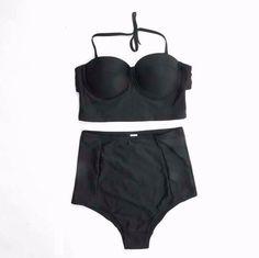 Black High Waist Push Up Bikini Bathing Suits