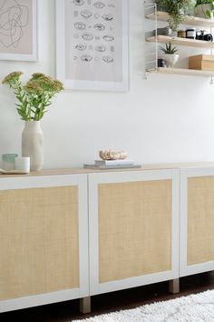 For this IKEA hack, discover how to give a classic Besta storage combination a modern boho makeover using cane webbing. Home Diy, Furniture Hacks, Ikea Storage, Ikea Diy, Storage Hacks Diy, Diy Sideboard, Ikea Furniture, Ikea Storage Furniture, Ikea Furniture Hacks
