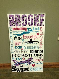 Personalized Wooden Swim Team Sign Teen by SwirlyTwirlyDesigns, $55.00