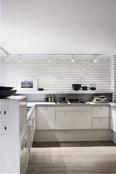 kitchen: white, wood & black