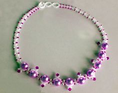 Free pattern for beautiful beaded necklace Caprice.  U need:    seed beads 11/0    round beads 3mm    bicone beads 3-4 mm    pearl beads 5-6 mm  - See more at: http://beadsmagic.com/?p=2896#more-2896
