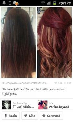 Red hair with highlights... Might have to go back to this  - I really like the peek a boo highlights