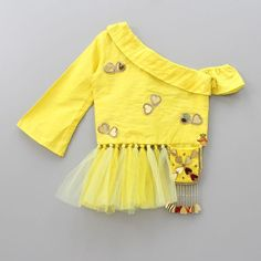 Pre Order: Yellow Knot Top With Dhoti Skirt Kids Blouse Designs, Fancy Blouse Designs, Blouse Neck Designs, Kids Frocks Design, Baby Frocks Designs, Frock Design, Baby Dress Design, Choli Blouse Design, Choli Designs