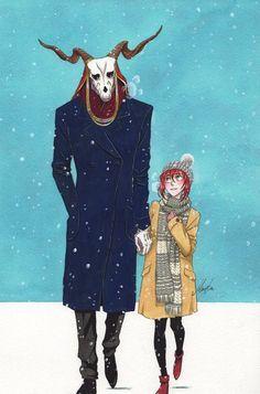 The ancient Magus' bride. Winter Date, Anime Manga, Anime Art, Elias Ainsworth, Chise Hatori, Chihiro Y Haku, The Ancient Magus Bride, Cute Anime Couples, Anime Ships