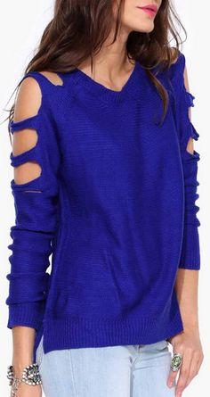 Slash Sweater in Cobalt