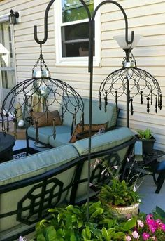 Wire baskets, solar lights and shepherd's hooks!