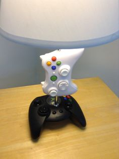 Xbox and Xbox 360 controller desk lamp with lamp shade. Ash would so love this for his room!
