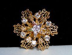 Vintage Order of the Eastern Star TALFA Enamel Rhinestone Gold Plated Brooch Pin #UnsignedBeauty #OrderofTheEasternStarTALFABroochorPin