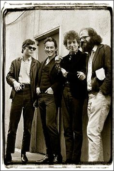 Robbie Robertson, Michael McClure, Bob Dylan, and Allen Ginsberg, San Francisco, 1965