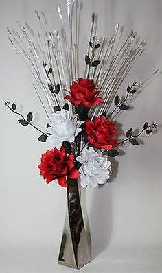 Summer silk flower arrangements french country summer silk floral artificial silk flower arrangement red black white flowers in silver vase mightylinksfo