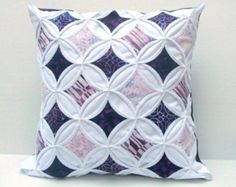 50% Off Decorative Throw Pillow Cover Purple Cathedral Window Batik 18 Inch