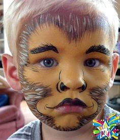 Simple face painting designs are not hard. Many people think that in order to have a great face painting creation, they have to use complex designs, rather then Face Painting Images, Animal Face Paintings, Face Painting For Boys, Face Painting Designs, Animal Faces, Painting Patterns, Body Painting, Monkey Makeup, Monkey Face Paint