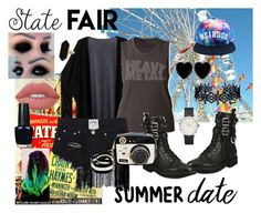 """""""Alternative State Fair Date"""" by josieawesomness ❤ liked on Polyvore featuring Giuseppe Zanotti, Dollydagger, Jaeger, LULUS, Betsey Johnson, Lime Crime, OPI, Summer, emo and goth"""