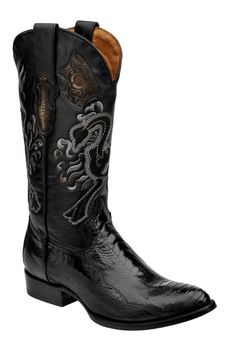 Cuadra Herren Western- Cowboystiefel (Straußenfuss Leder) 2C01PT Lederwaren Herren Stiefel