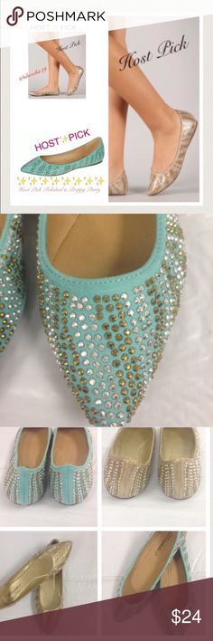 Beaded embellished pointy toe flats Cute embellished pointy toe flats. True to size. Brand new in box. Breckelles's brand. Choose from green size 7 or gold star 6 from menu options below. Bundle and save Breckelles Shoes Flats & Loafers