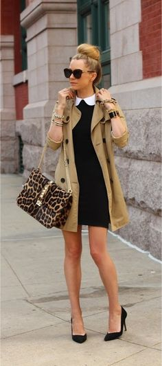 great overall polished style - very audrey; love the animal print bag to tie together the black & tan