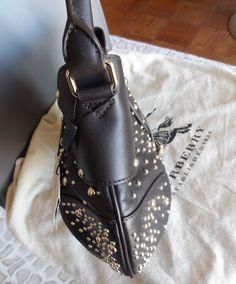 2080b98803b NEW- Burberry Hackford Leather Studded Hobo Handbag in Black NWT MSRP   1395.  325.0