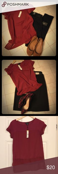Metaphor mixed media shirt Beautiful deep beet red short sleeve blouse, perfect for the holidays.  Sleeves and hem are trimmed in sheer fabric. Great paired with dark jeans or dress up with black skirt and blazer. Metaphor Tops Blouses