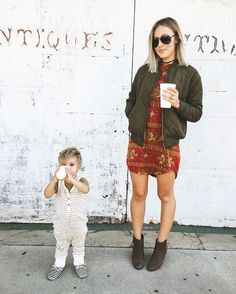 Fall outfit, boots, jacket with dress, bomber jacket, ray ban sunglasses, mom and baby, theseblondewalls, Kaila walls http://feedproxy.google.com/fashiongoSunglass