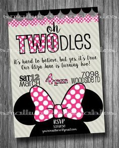 Oh Twodles Invitations FREE Thank you Cards Toodles Minnie Mouse Girls Birthday Party Printable - Pink or with polka dot backside - Ella Birthday - 2 Year Old Birthday Party Girl, Second Birthday Ideas, Girl 2nd Birthday, Minnie Birthday, Minnie Mouse Party, Mouse Parties, 2nd Birthday Parties, Mickey Mouse, Minnie Mouse Birthday Invitations