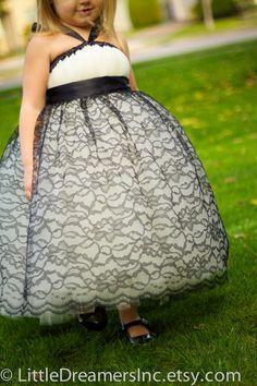 Elegant Ivory Tutu Dress with Black Lace by littledreamersinc,