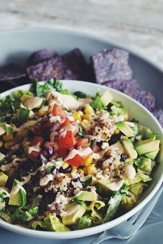 rainbow quinoa taco salad #vegan #glutenfree | RECIPE on hotforfoodblog.com