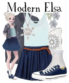 """""""Modern Elsa (Frozen)"""" by fabfandoms ❤ liked on Polyvore featuring MANGO, Bling Jewelry, New Look, Retrò, Disney, River Island, Converse, Ross-Simons and modern"""