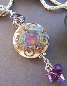 Jewel Necklace - Lampwork Glass Bead with Sterling Silver Pendant Necklace