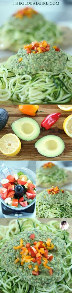 The Global Girl Raw Food Recipes: Raw vegan avocado basil sauce over zucchini noodles. This is an easy, tasty, quickie and taste-bud tantalizing raw vegan sauce you'll love. #rawvegan #glutenfree #pasta