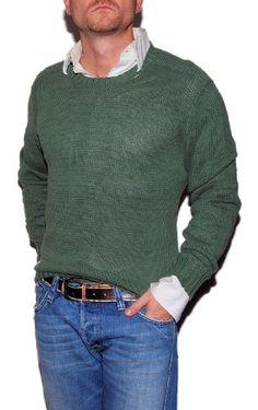 Polo Ralph Lauren Mens Distressed Linen Pima Cotton Sweater Green