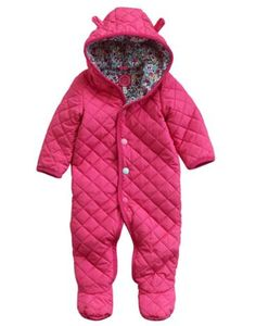 Joules Baby Girls Quilted Pram Suit, Pink.                     Encourage cuddles with this unbelievably soft Snuggle Suit. We added little ears to hood to increase the fun-factor and fully lined it with cotton for extra warmth. Finished with quilting detail and lined with a delightful ditsy print.