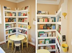 Love this bookshelf corner (bookshelf design & how-to from ana-white.com) & the little table & chairs.